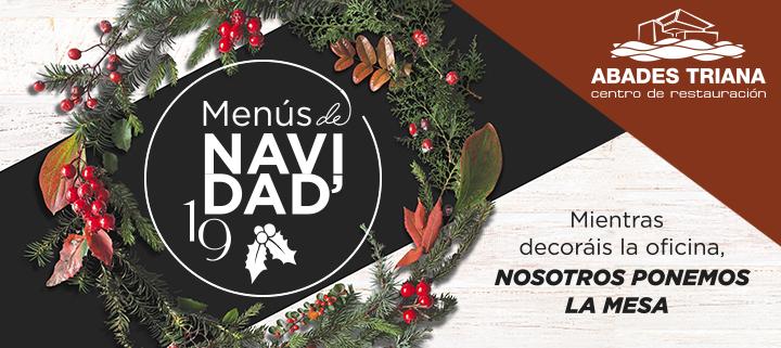 Banner de oferta para menús de comidas y cenas de Navidad en Sevilla